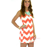 Chevy To The Levee Coral Halter Dress