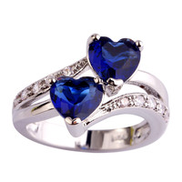 AAA CZ Fashion Lab Blue Sapphire Quartz 18K White Gold Plated Silver Ring Gems Jewelry Size 6 7 8 9 10 11 12 Free Shipping Gif