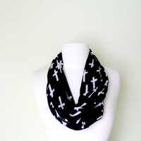 Black and White Cross Jersey Knit  Infinity Scarf-Double Wrap, Long, Different Ways to Wear, Trendy and Modern