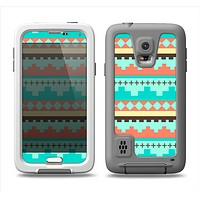 The Teal & Gold Tribal Ethic Geometric Pattern Samsung Galaxy S5 LifeProof Fre Case Skin Set