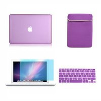 TopCase 4-in-1 Bundle Rubberized Purple Hard Case Cover with Matching Color Soft Sleeve Bag,Silicone Keyboard Cover,LCD HD Clear Screen Protector and TopCase Mouse Pad for 13-Inch Macbook White A1342/Latest