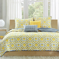 Full / Queen Size Geometric Gray / Yellow Lightweight Coverlet Set