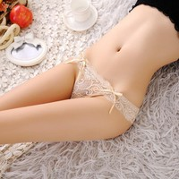 New 2018 sexy bowknot panties Women Sexy Lace V-string Briefs Panties Thongs G-string Lingerie Underwear Women's Panties