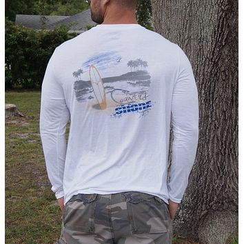 Country Shore Beach White Soft Performance Long Sleeve Tee