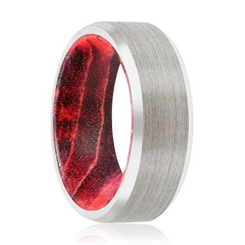 WILLOW Tungsten Silver Beveled with Black and Red Box Elder Inside Wood Ring