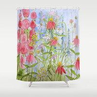 Watercolor Garden Flowers Sunny Day Between The Weeds Shower Curtain by Between The Weeds-Laurie Rohner Studio