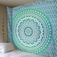 Blue and Green Gradient Mandala Hanging Wall Tapestry