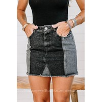 Found Love In The City Two Toned Denim Skirt