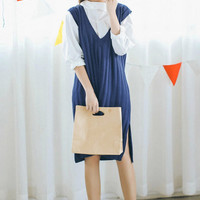 Navy V-Neck Sleeveless Knitted Vest Dress