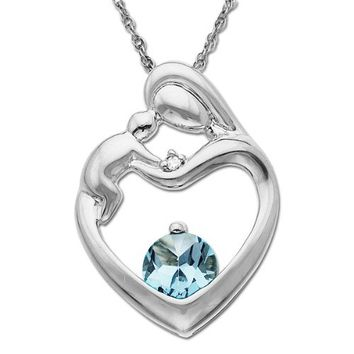 """10k White Gold, Aquamarine, and Diamond Accent Mother's Jewel Heart Pendant Necklace, 18"""""""