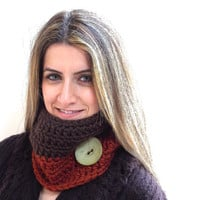 Unisex Chunky Crochet Neck Warm, Chunky Cowl. Brown and Rustic Winter scarf, Hat, Headband with Large Resin Button
