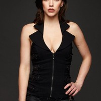 Seventh Star Black Halter Neck Top with Buckles
