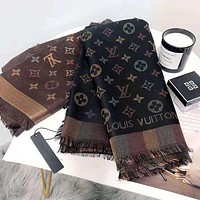 Louis Vuitton LV new vintage letter print gold silk ladies fringed scarf