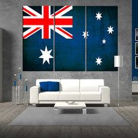 australian flag canvas wall art Print, flag of australia on canvas, large australian flag canvas print giclee extra large wall art t325