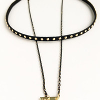 Golded Studded Leather Layered Chokers