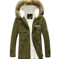 Mens Warm Fur Collar Hooded Parka Winter Thick Down Coat Outwear Down Jacket