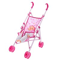 Dolls Buggy Stroller Pushchair Pram Toys For Children borns Fold able Girls Pink Toy Doll Pram Baby Doll