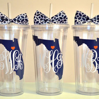 Monogrammed State tumbler. 16 ounce cups.