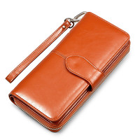 Leather wallet Women Wallets Large Capacity Women clutch purse female Fashion Solid change Purse