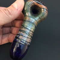 Cobalt Glass Color Wrap Tobacco Spoon Pipe