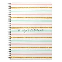 Monogram Girly Pink Gold Glitter Stripe Pattern