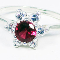 Ruby and CZ Halo Ring, 925 Sterling Silver, July Birthstone Ring, Ruby Halo Ring, White CZ Halo Ring, Red Ruby Ring