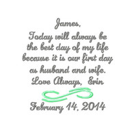 BRIDE to  The GROOM Handkerchief Hanky Hankie -  From the BRIDE -   - Wedding  - Today Will Always Be The Best Day of My Life