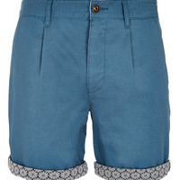 Blue Pattern Turn Up Shorts - New In