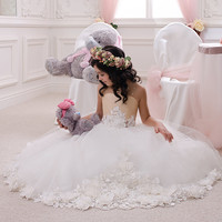 Ivory and Beige Flower Girl Dress - Wedding Party Holiday Birthday Bridesmaid Flower Girl Ivory and Beige Tulle Dress