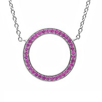 Sterling Silver Created Pink Sapphire Cirlce Necklace 3/4ct tgw adjustable 16-18inch