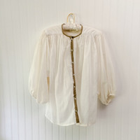 Callista blouse // 1970s ultra sheer ivory gauze HUGE draped poet sleeve top // trapeze tent floaty // size OSFM