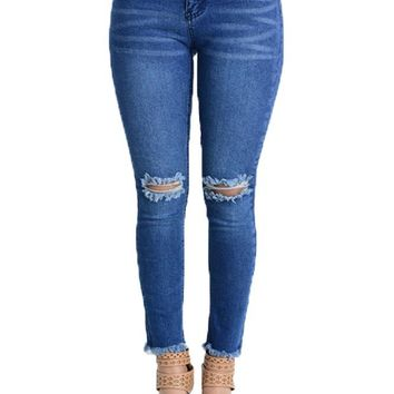 Women's Cut and Frayed Skinny Fit Jeans