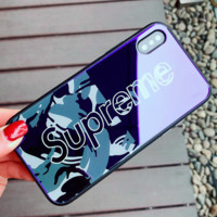 Supreme iPhoneX Glass Phone Case Blu-ray iPhone7/8plus Cover Supreme/green