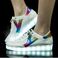 Light up LED White / Rainbow Shoes - Vegan