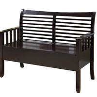 "Cappuccino Solid Wood 48""L Bench With Storage"