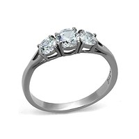 Love, Valor and Compassion - Stainless Steel and CZ Ring
