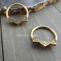 Gold nipple piercing hoops 14g captive bead rings mandala design body jewelry set