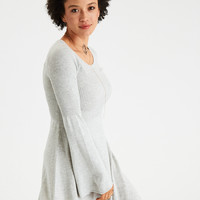 AE Ahh-Mazingly Soft Bell-Sleeve Sweater Dress, Gray