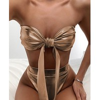 Strapless split swimsuit sexy hot gold bikini