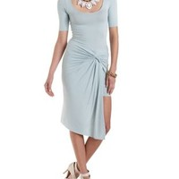 Light Blue Ruched & Knotted Asymmetrical Dress by Charlotte Russe