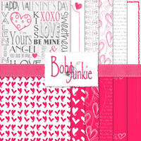 It's All About Hearts - Digital Paper Pack, Valentine's Day Background Papers, Instant Download, Scrapbooking, Collage, Craft Supplies
