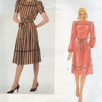 Vogue American Designer Albert Nipon Sewing Pattern 80s New Wave Style Dress Casual Loose Fit High Neck Dress