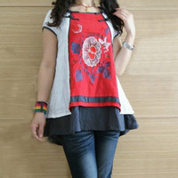 Double layer Cotton Short sleeve pullover