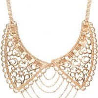 Grand Entrance Chain Link Filligree Collar Necklace in Gold | Sincerely Sweet Boutique
