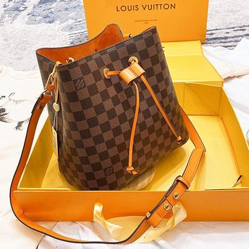 Bunchsun Louis Vuitton LV Women Leather Coffee Plaid Shoulder Bag Crossbody Satchel Bucket Bag