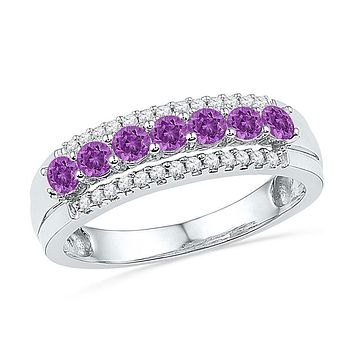 10k White Gold Round Created Amethyst Diamond Band Ring 5/8 Cttw