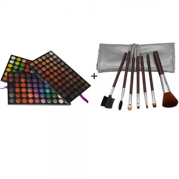 180 Silky Shine Color Eyeshadow Palette + 7pcs Makeup Brush Set with Silver Bag Brown