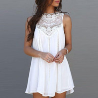 Lace Patchwork Mini Sundress Dress +Free Summer Gift Choker