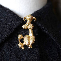 Vintage Avon French Poodle Pin,Gold Tone Dog Brooch,Canine Scatter Pin,Novelty Lapel or Collar Pin,Dog Fancier Gift,Animal Pet Jewelry