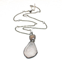 Geode Necklace Druzy Necklace Oxidized Silver Necklace Geode Jewelry Druzy Jewelry Dark Grey Necklace Spring 2015 Spring Style Drusy Pendant